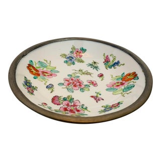 Vintage Mid-Century Chinoiserie Hand Painted Porcelain & Pewter Trinket Dish For Sale