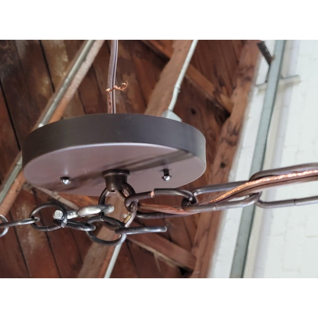 Metal String Shaded Chandelier For Sale - Image 7 of 8