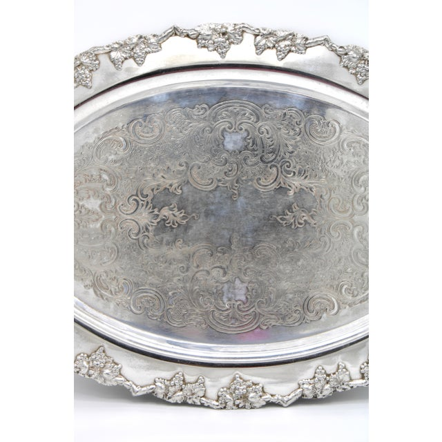Mid-Century Silver Plate Handled Serving Tray For Sale - Image 4 of 13
