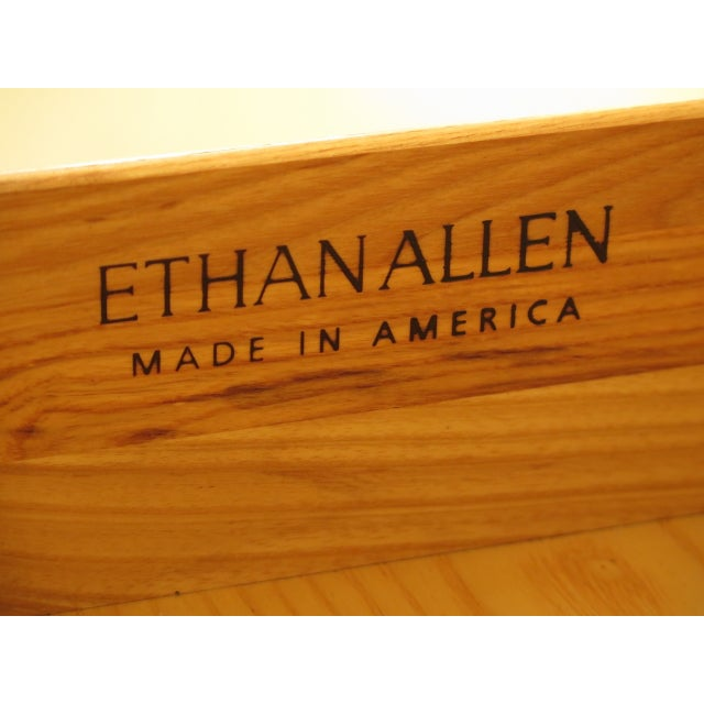 Vintage Ethan Allen Federal Style Bow Front Mahogany Low Chest For Sale - Image 11 of 13