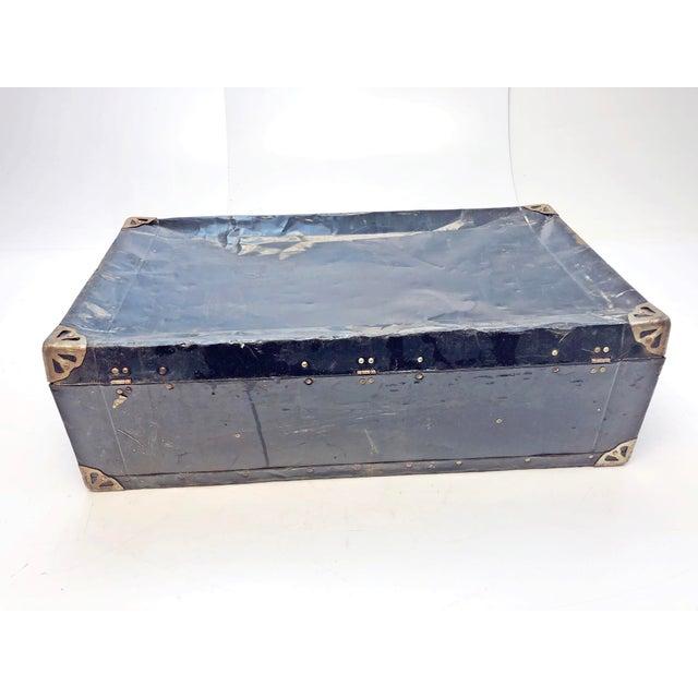 Industrial Vintage Distressed Black Metal Storage Trunk For Sale - Image 3 of 13