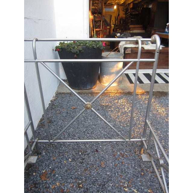 Mid 20th Century Maison Jansen Steel and Brass Campaign Style Day Bed For Sale - Image 5 of 8