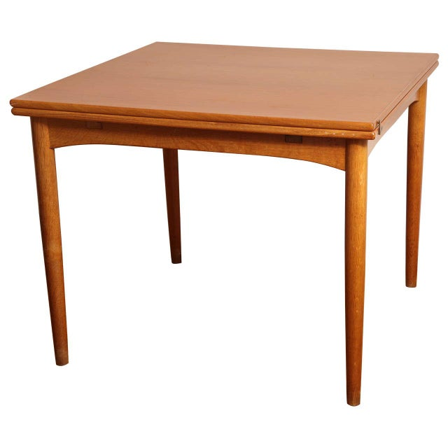 Danish Mid Century Sap Walnut Game Table For Sale - Image 11 of 11