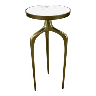 Regina Andrew Modern White Marble and Brass Finished Accent Table For Sale
