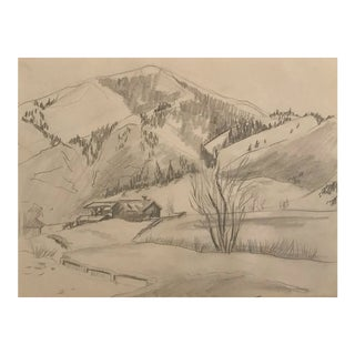 1950s Mountain Valley Landscape Drawing For Sale