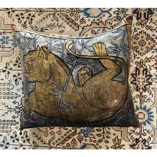 The Lioness Pillow is a extravagant piece that reflect a brilliant infusion of hand-dyed and hand-painted colors and...
