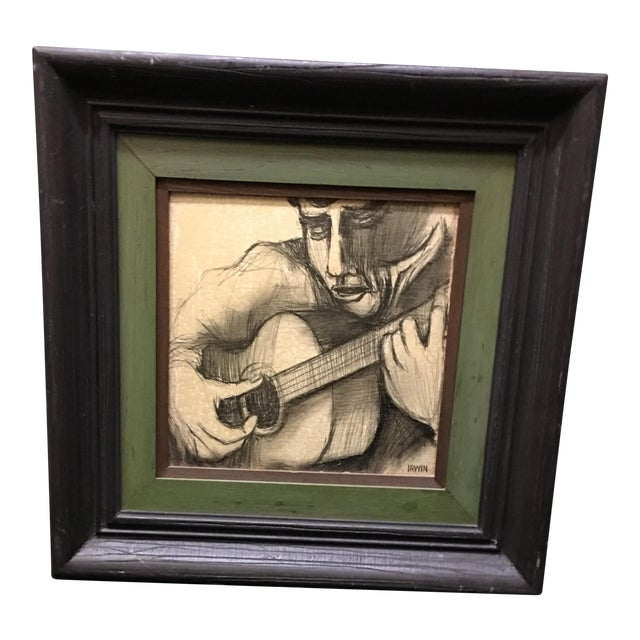 Guitarist Original Pencil Drawing - Image 1 of 5
