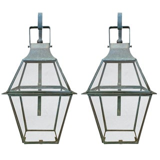 Pair of American Bronze Lantern Sconces For Sale
