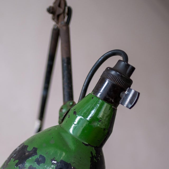 Green Vintage French Industrial Wall Lamp 1930s For Sale - Image 8 of 13