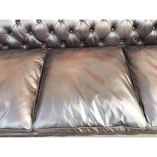 Timothy Oulton Black Leather Sofa For Sale In Los Angeles - Image 6 of 7