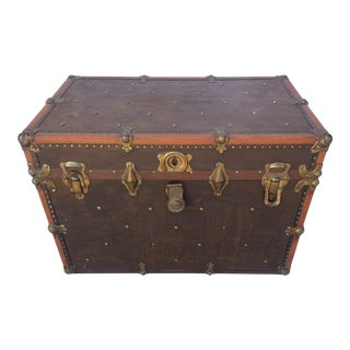 1930s Vintage Leather Trunk For Sale
