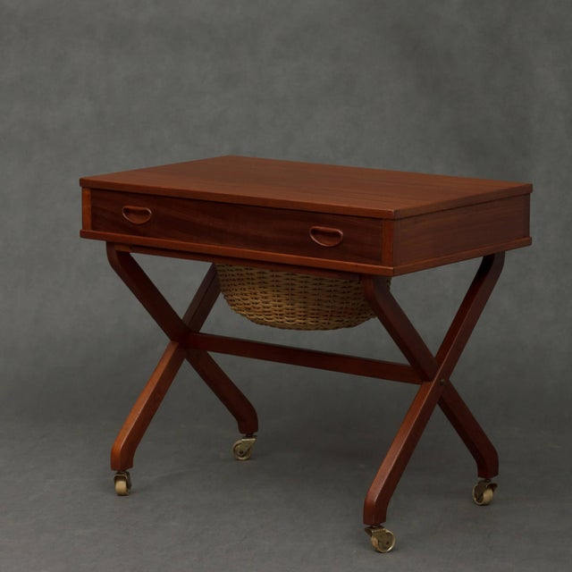 Caning 1950s Danish Modern Teak Sewing Table For Sale - Image 7 of 7