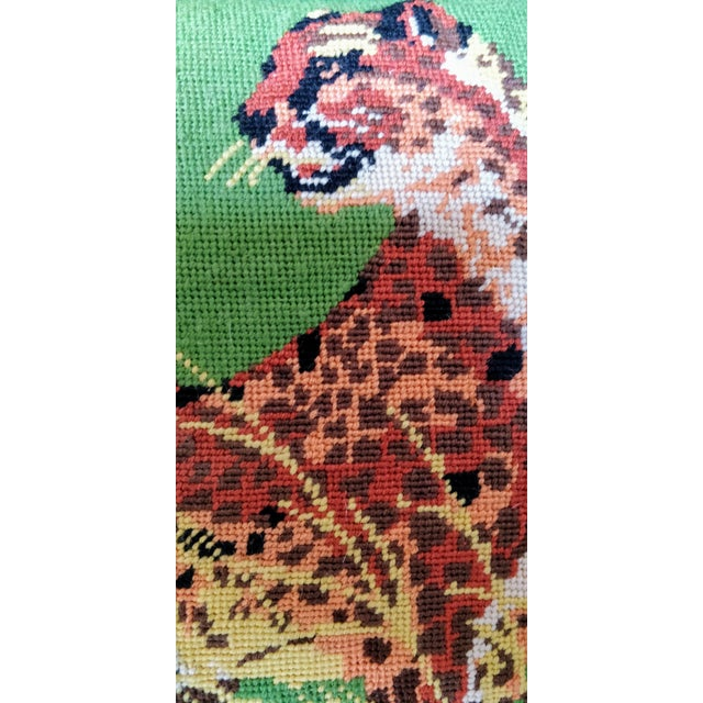 Textile Vintage Cheetah Cat Velvet Green Chinoiserie Needlepoint Pillow For Sale - Image 7 of 11