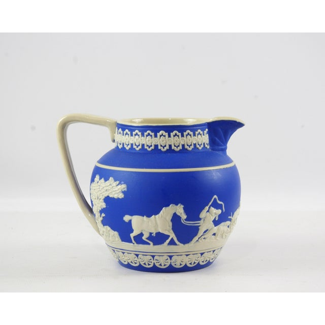 Traditional 1900s Antique Spode Hunting Scene in Royal Blue Jasperware Pitcher For Sale - Image 3 of 12