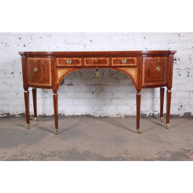 Baker Furniture Stately Homes Sheraton Bow Front Inlaid Mahogany Sideboard For Sale - Image 13 of 13