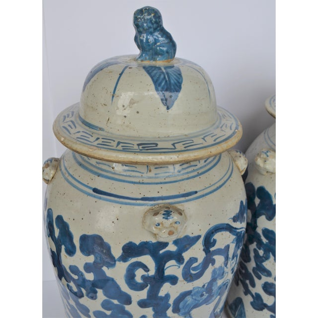 2010s Large Chinoiserie Blue and White Scroll and Leaf Ginger Jars, a Pair For Sale - Image 5 of 6