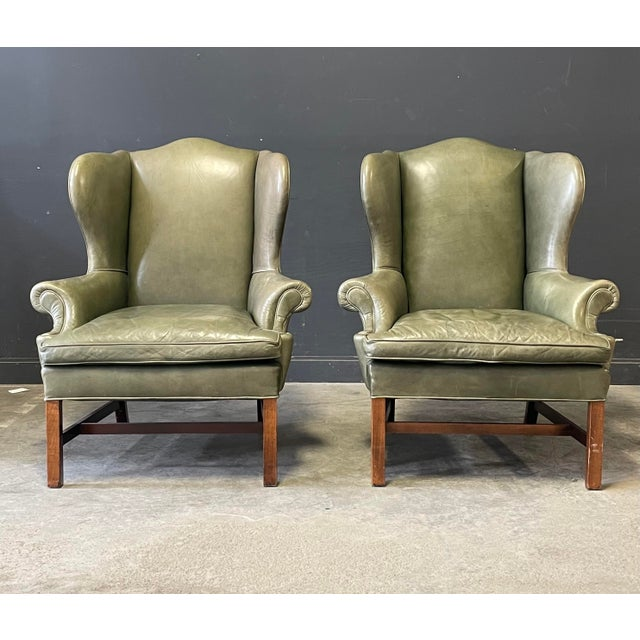 Late 20th Century Ralph Lauren Georgian Style Wing Back Chairs For Sale - Image 5 of 6