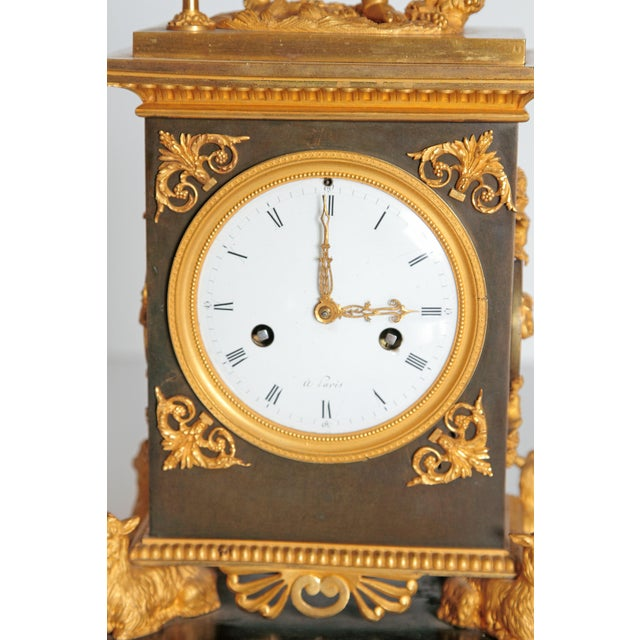 Black Marble Early 19th Century French Clock With Putto For Sale - Image 7 of 13