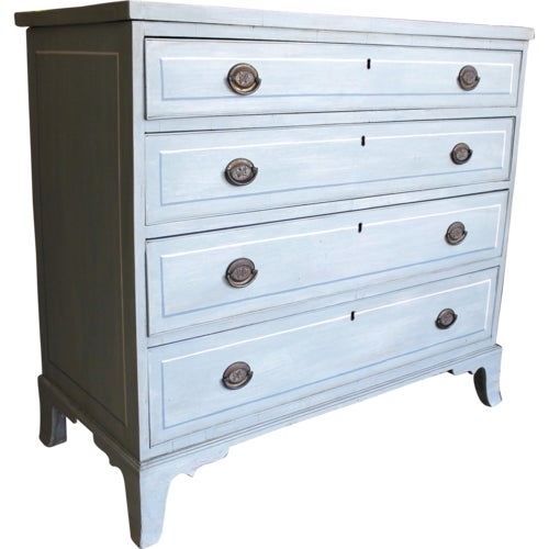 American Blue Painted Federal Chest of Drawers on French Feet - Image 11 of 11