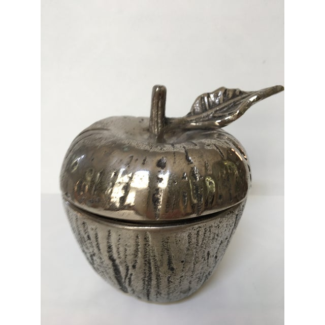 Beautiful, life like apple lidded jam or honey jar. Perfect detail with a stem and leaf with ridges in it. Silver metal...
