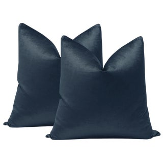 "22"" Prussian Blue Luxe Velvet Pillows - a Pair For Sale"