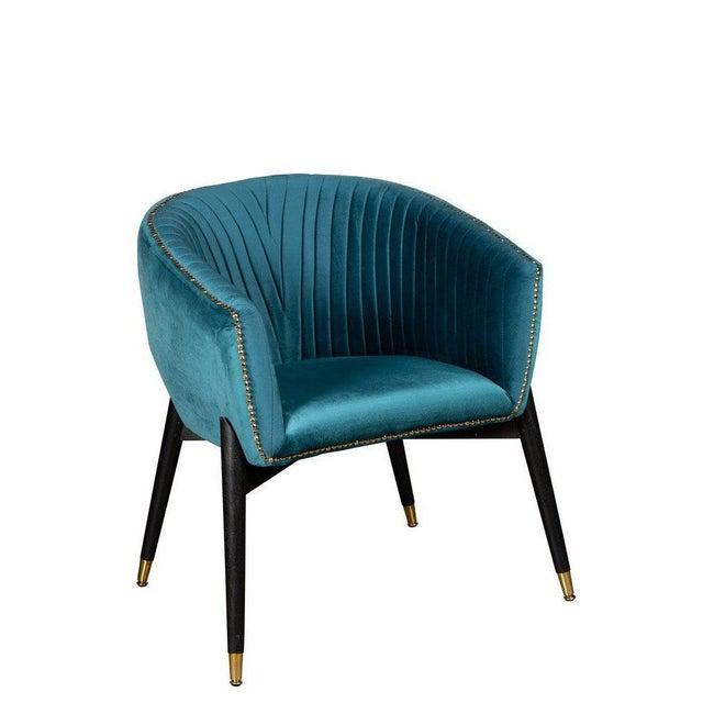 Lucy Accent Chair in Teal For Sale In Los Angeles - Image 6 of 6