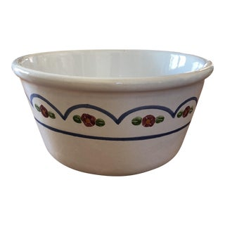 Vintage Hand Glazed Painted Floral Bowl For Sale