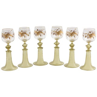 Six Antique Moser Raised Gilt Trumpet Stem White Wine Glasses, 19th Century For Sale