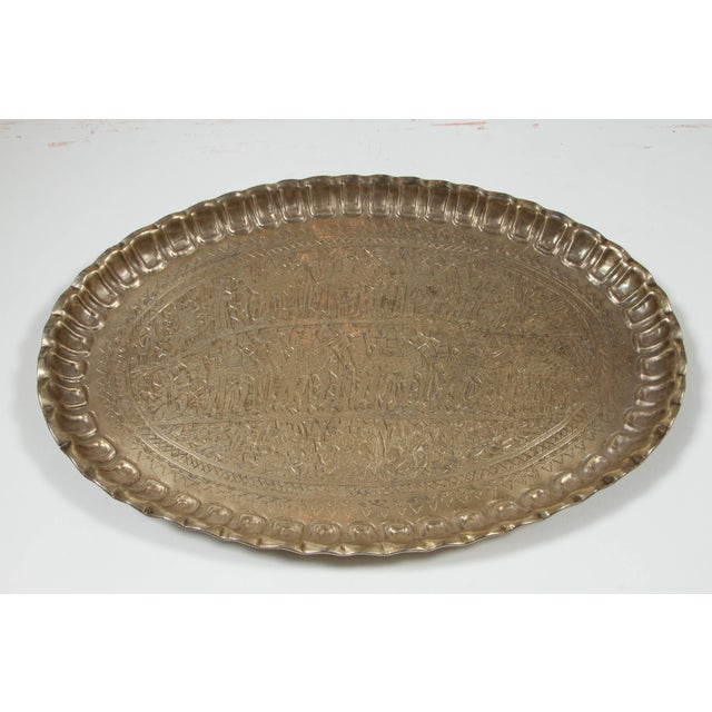 Silver Antique Persian Wall Hanging Silvered Tray For Sale - Image 8 of 8