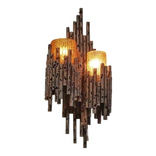 Marcello Fantoni Torch Cut Sconce With Amber Murano Glass Shades For Sale
