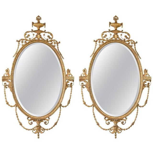 Giltwood Adams Style Friedman Mirrors - Pair For Sale