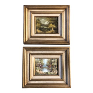 Gallery Wall Collection 2 Original Vintage Landscape Paintings 1960's Original Frames - a Pair For Sale