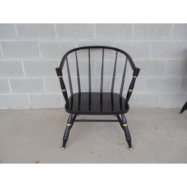 Rousseau Bros. Barrel Back Spindle Black Painted Club Chairs-A Pair For Sale - Image 10 of 11