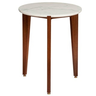 Stillmade Walnut Tripod Side Table with Calcutta Marble Top For Sale