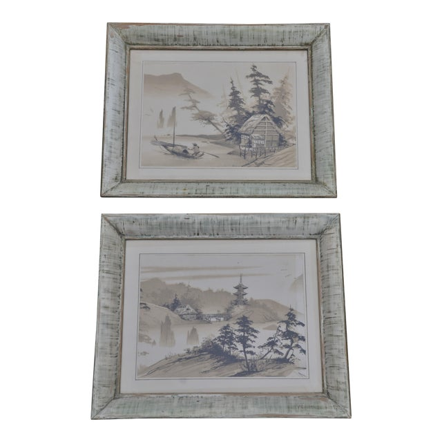 Vintage Mid-Century James Bunnell Chinoiserie Ink Prints - A Pair For Sale