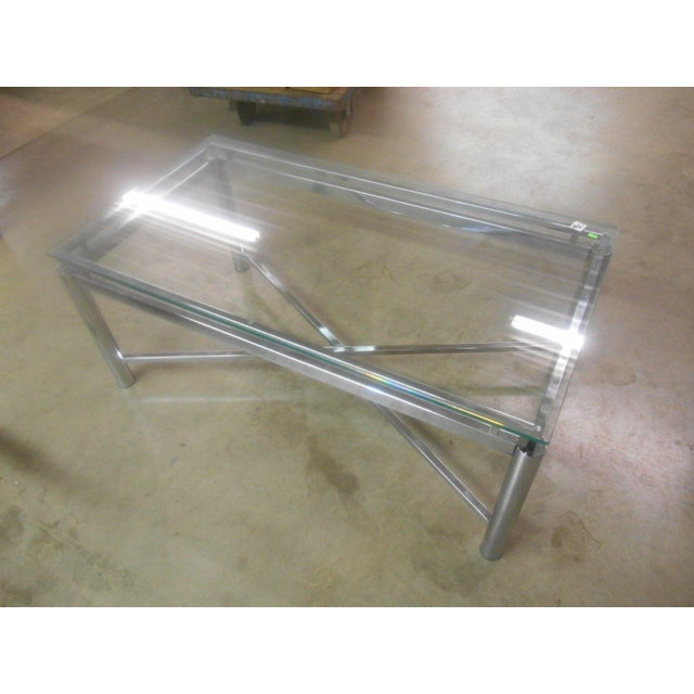 Vintage Mid-Century Modern Chrome & Floating Glass Top Coffee Table For Sale - Image 4 of 9