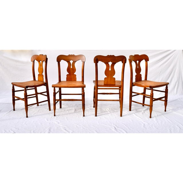 Chestnut Antique Caned Federal Dining Chairs, Set of Eight For Sale - Image 8 of 10