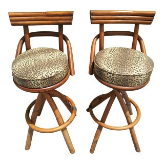 Pair - Post Century Modern Bamboo & Rattan Barstools For Sale