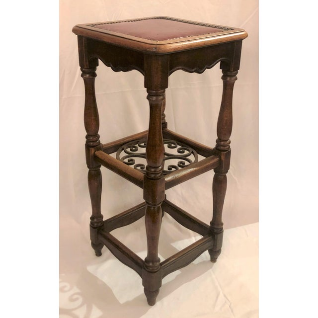 Antique French Country Oak and Iron Tavern Bar Stool With Leather Seat, Circa 1890-1910. For Sale - Image 4 of 6