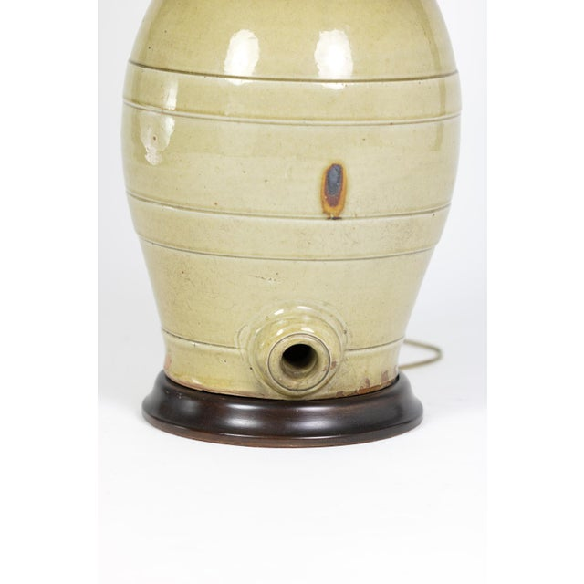 Pale Green Glazed Spirit Barrel, English Circa 1880 Mounted and Wired as a Table Lamp With Linen Shade For Sale - Image 12 of 13