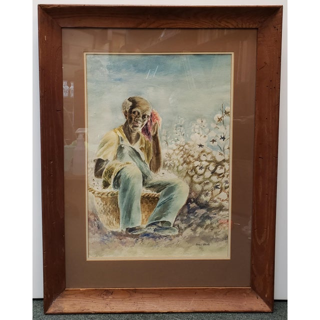 Mid 20th Century Vintage Black Man in Cotton Field Watercolor Painting by Irma Brady (20th Century) For Sale - Image 5 of 5