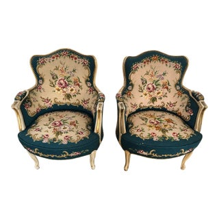 Late 19th Century Vintage Needlepoint Bergere Chairs - A Pair For Sale