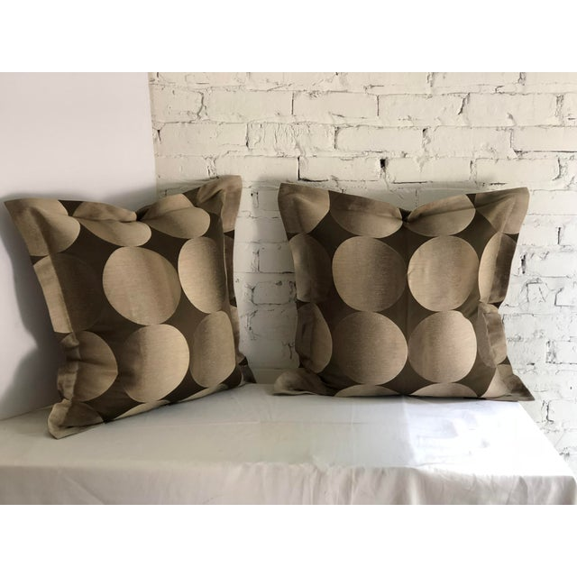"Pair of 24"" Brown and Tan Geometric Jim Thompson Pillows For Sale - Image 9 of 9"