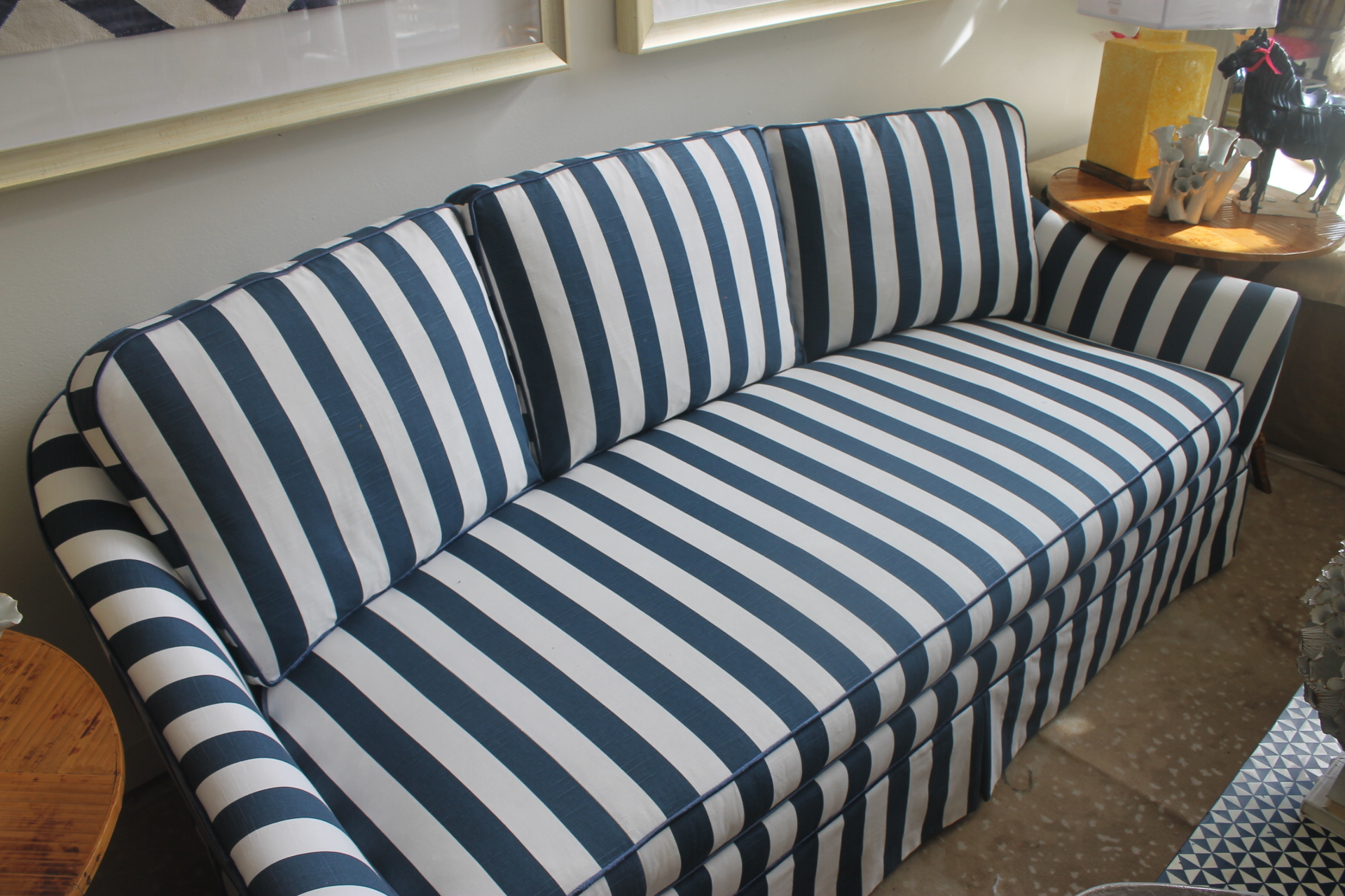 Contemporary Lillian August Navy White Stripe Sofa For Sale   Image 3 Of 6