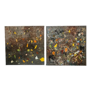 Oil Paintings on Linen Abstract Painting Signed by Artist - a Pair For Sale
