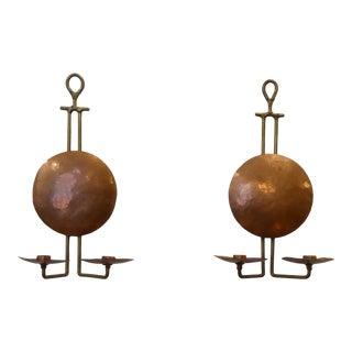 Vintage Arts & Crafts Copper & Brass Sconces - a Pair For Sale