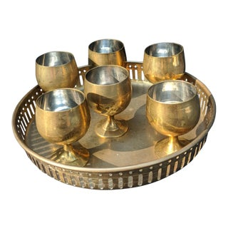 1950s Vintage Brass Goblets and Tray - 7 Pieces For Sale
