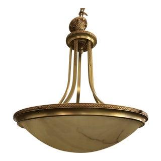 Basic Source Cast Brass Alabaster Chandelier For Sale