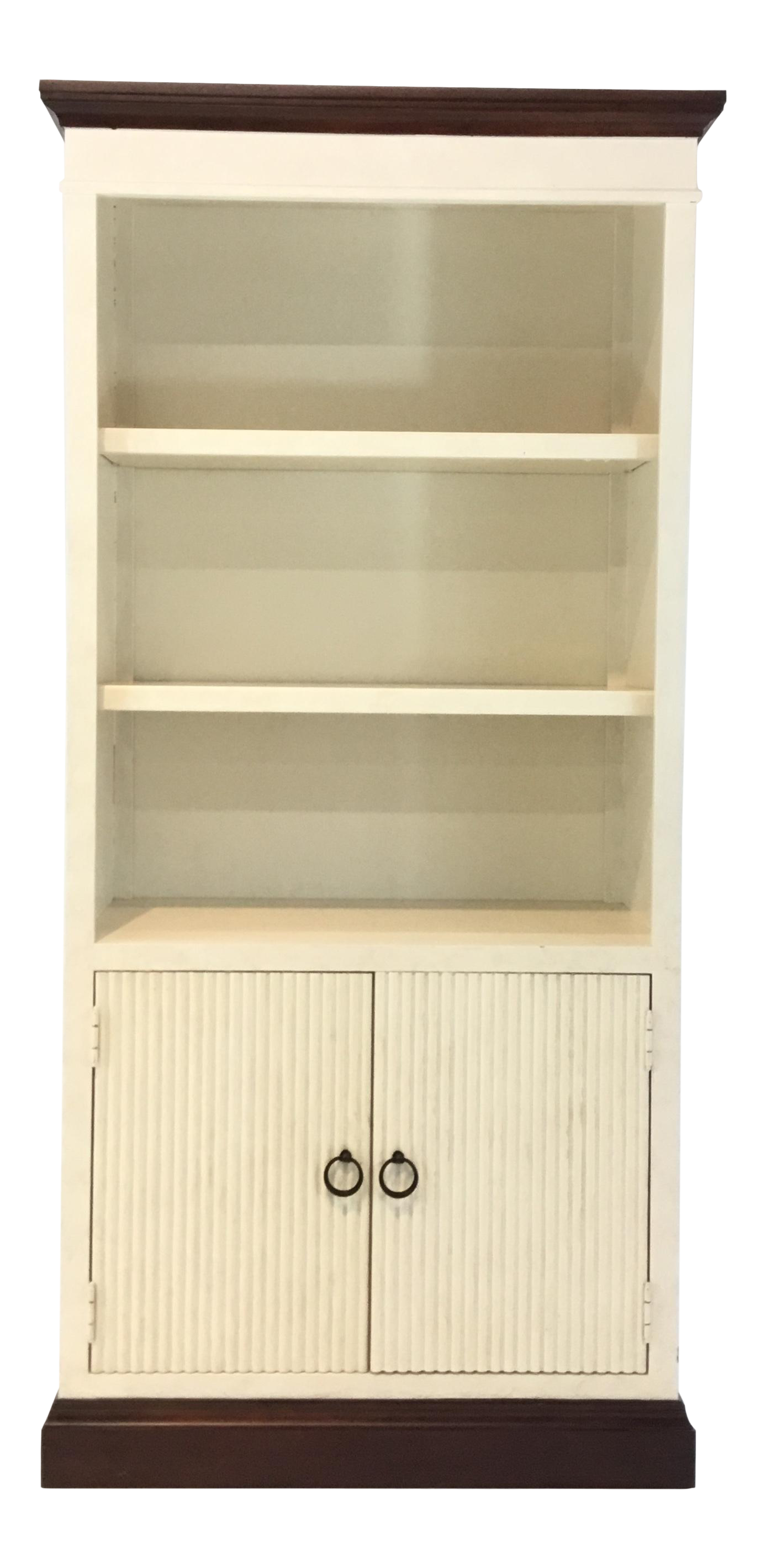 Transitional Tall Two Door White Textured Wood Cabinet/Bookcase For Sale