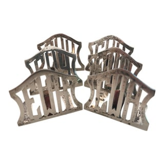 1950s Traditional Sterling Monogram Place Card Holders - Set of 6 For Sale
